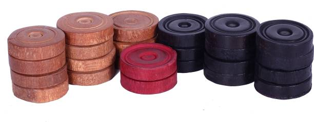 amrita heavy wooden carrom coins/pawns for carrom board with stricker Carrom Pawns