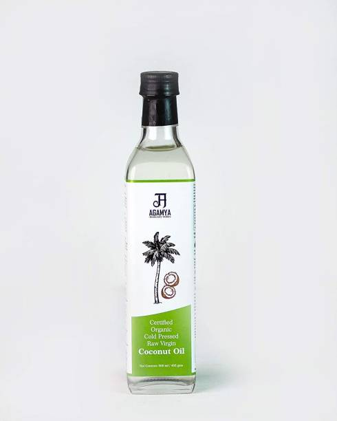 Agamya certified organic ,USDA approved Cold Pressed 100% Edible Raw virgin coconut oil ,VCO,hair,skin & Massage (Glass bottle)(pure , natural , preservative free , unheated) (500 ML X 1) Coconut Oil Glass Bottle