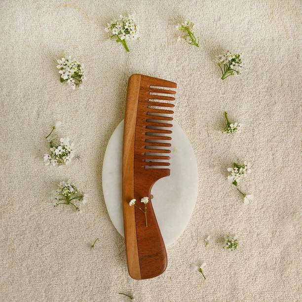 Tora Creations Wood Wide Tooth Comb With Handle for Curly Hairs