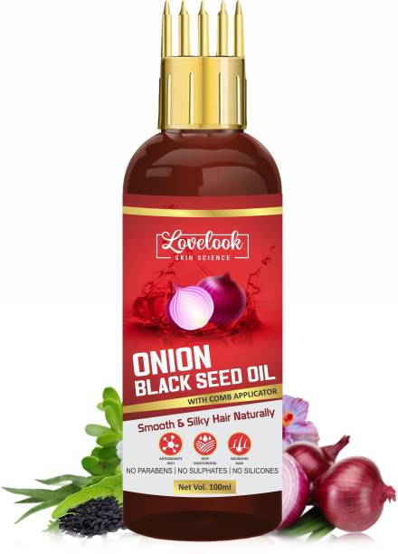 Lovelook Onion Black Seed Hair Oil - WITH COMB APPLICATOR - Controls Hair Fall & Regrowth Hair Oil