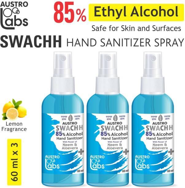 Austro Labs SWACHH HAND SANITIZER SPRAY LIQUID 60 ML X 3 (PACK OF 3) (180 ML) (MIX FLAVOUR) ETHYL ALCOHOL 85% Sanitizer Spray Bottle