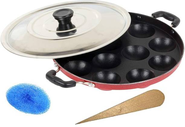 3D METRO SUPER STORE Non-Stick 12 Cavity Appam Patra with Stainless Steel Lid Induction & Standard Idli Maker