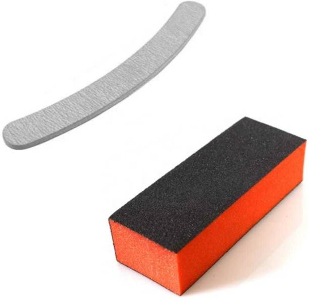virkart Nail Art Shiner Buffer Block Orange Buffing Sanding File and 1 high quality nail filer