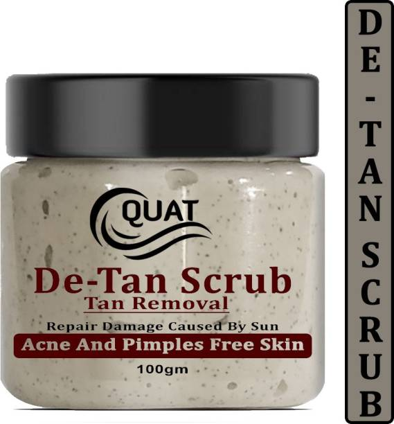 QUAT De-Tan Face Scrub,Tan Removal Face Scrub for Glowing Skin,Oily,Dry Skin,Women,Men (100gm) Scrub