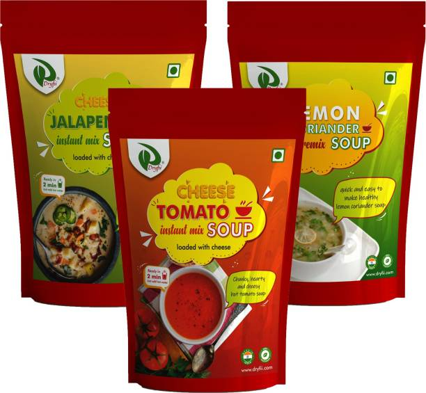 Dryfii Cheese Jalapino, Lemon coriander & Cheese Tomato Instant Soups Premix Combo (100X3) 300 G With Natural Vegetables, No Added Preservatives