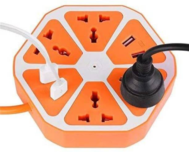 Kandel London Hexagon Socket with USB Charger, 1.8 Mtr Wire, 4-Outlet with 4-USB Power Socket Extension Board with Cord, Mobile Charging USB Power Hub 4 USB 4 Socket Extension Boards (Pack of 1)(Color On Availability 4  Socket Extension Boards