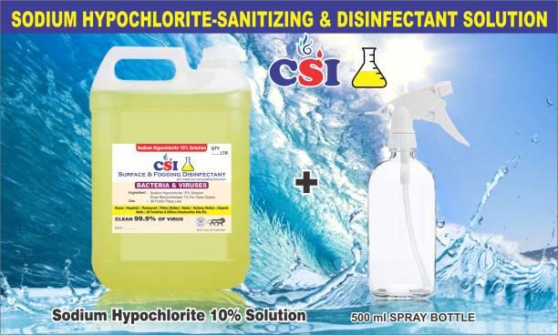 CSI 01 SODIUM HYPOCHLORITE SOLUTION (SANITIZING SPRAY) Cleaner 5ltr (5000 ml) 10% solution, kills bacteria/germs/viruses, etc. (5000 ml)