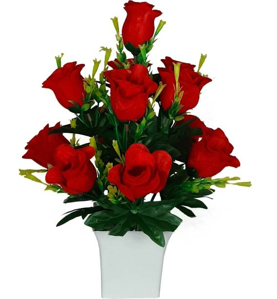 CHAUDHARY FLOWER Multicolor Rose Artificial Flower  with Pot