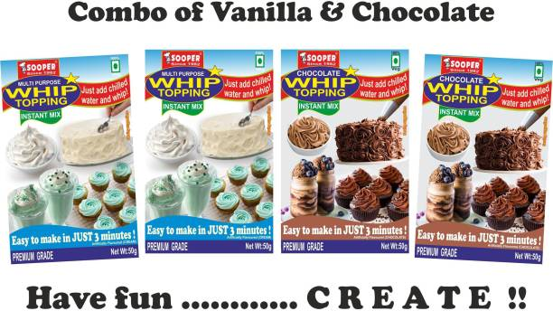 SOOPER WHIP TOPPING MIX VANILLA 2x50g + CHOCOLATE 2x50g COMBO Topping