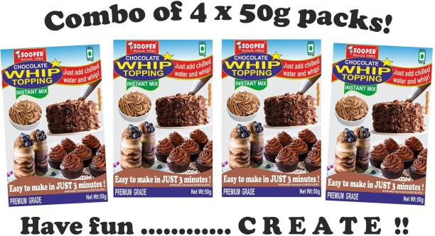 SOOPER WHIP TOPPING MIX CHOCOLATE 4x50g PACKS Topping