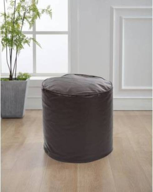 SHIRA 24 Large Round Ottoman Pouffe Bean Bag Footstool  With Bean Filling