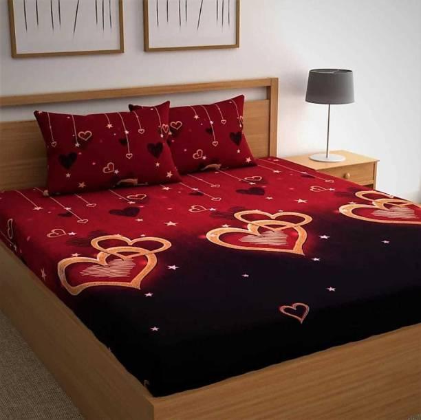CHHAVI INDIA 120 TC Microfiber Double 3D Printed Bedsheet