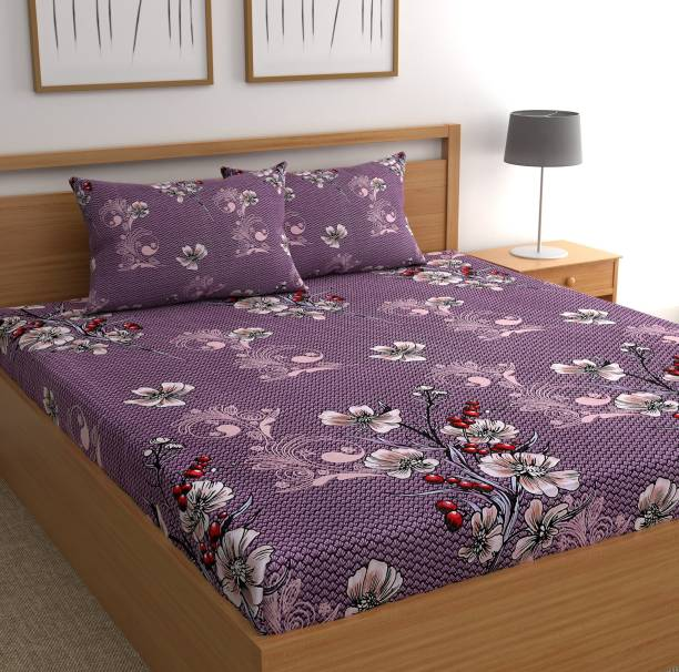 CHHAVI INDIA 160 TC Microfiber Double Floral Bedsheet