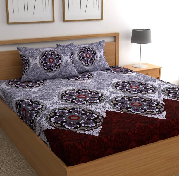 CHHAVI INDIA 160 TC Microfiber Double 3D Printed Bedsheet