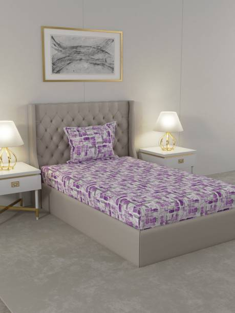 Raymond Home 104 TC Cotton Single Geometric Bedsheet