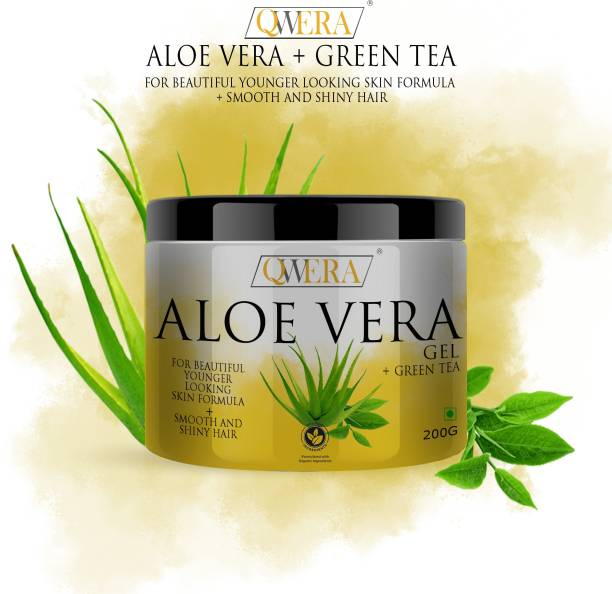 Qwera Bio Organic 100% Pure Aloe Vera Gel For Young and Radiant Skin and Hair, Pure Aloe Vera Gel - Ultimate for Skin and Hair - No Parabens, Silicones, Mineral Oil, Color, Synthetic Fragrance