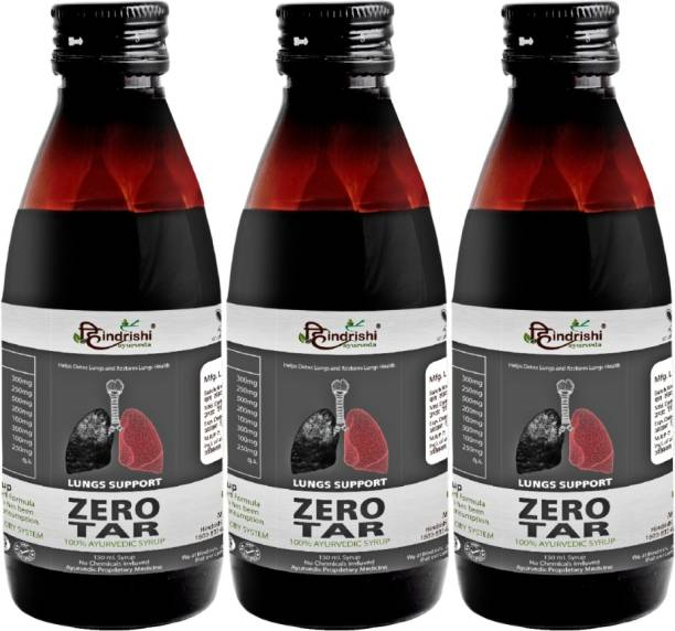 Hindrishi Ayurveda Zerotar Syrup (Set of 3) for Lungs Detox helps in Smokers cough/Pollution, Asthma and Bronchitis