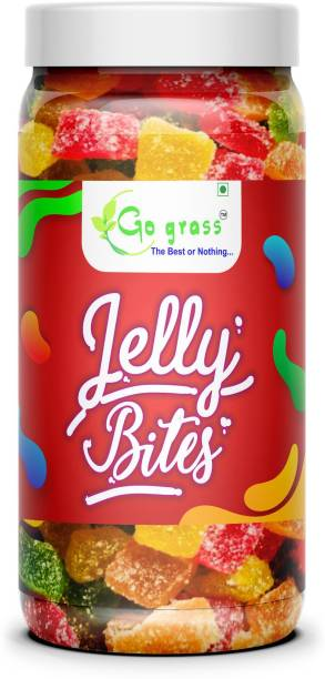 GO GRASS Jelly Bites - Sugar Coated Jelly Candy | JAR PACK sweet Jelly Candy