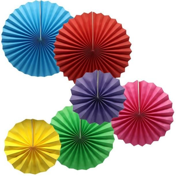 7 Season's Multicolor 2 Paper Decoration Fans