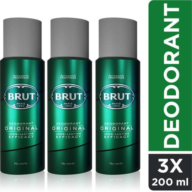 BRUT Original Deodorant for Men | Long Lasting Robust Fragrance 3x200ml Deodorant Spray  -  For Men