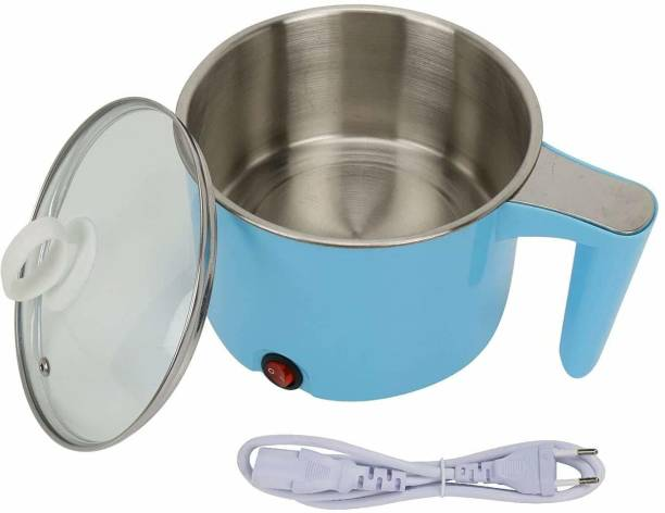 BB MALL Electric 1.5 L Multi Cooker Kettle with Concealed Base Multifunction Cooking Pot Noodle Maker Egg Boiler Vegetable and Rice Cooker and Steamer (Blue) Rice Cooker, Egg Roll Maker, Egg Boiler