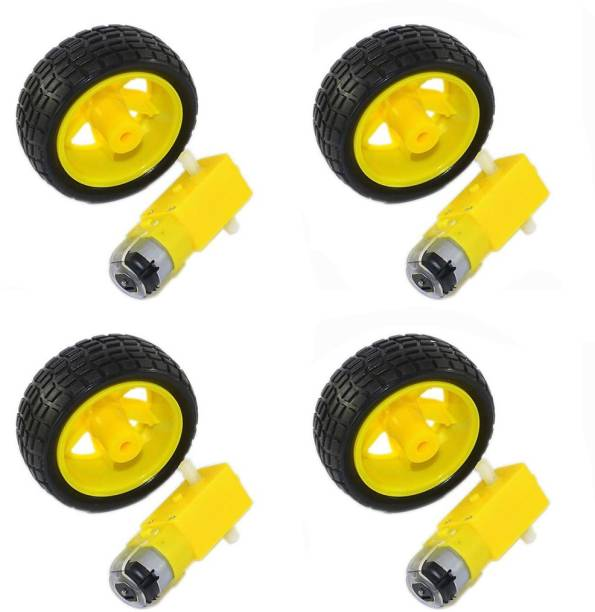 geeta enterprises BO Motor Dual Shaft and Wheels Smart Car Robot Gear Motor for Arduino, Black and Yellow, Pack of 4 Automotive Electronic Hobby Kit