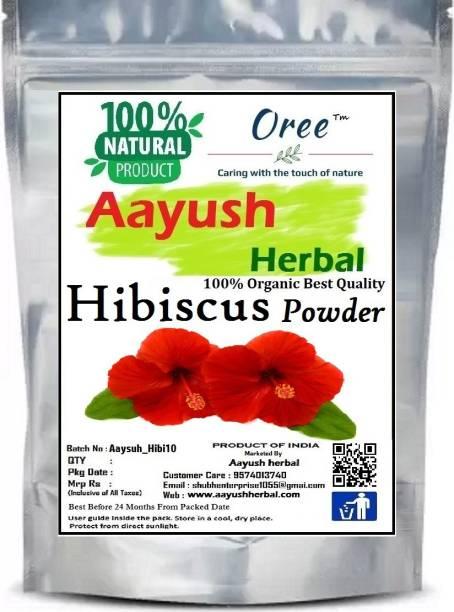 Aayush herbal 100% NATURAL Hibiscus Flower (Rosa Sinensis) Gudhal Powder | For Hair & Face Pack, 100g