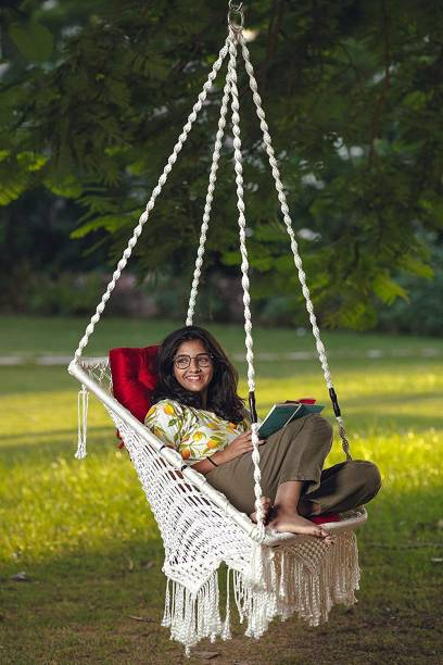 Patiofy White Premium Square with L Cushion Cotton Large Swing
