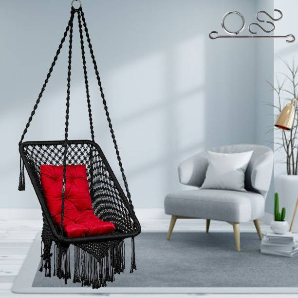 Patiofy Pre-Square Swing with Red L Cushion Cotton Large Swing