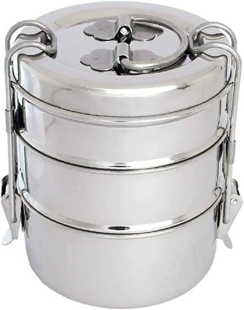 JAIMS BRAND Stainless Steel Clip Carrier Lunch Box with 3 Containers 3 Containers Lunch Box (1500 ml) 3 Containers Lunch Box