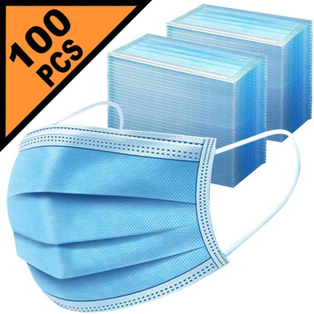 LeSafe 100 Piece 3 Ply Extra Thick Extra Protective 3 Ply Pharmaceutical Breathable Surgical Pollution Face Mask Respirator For Men, Women, Kids Surgical Mask Surgical Mask--DE--100, Pharmaceutical Mask Reusable Surgical Mask With Melt Blown Fabric Layer