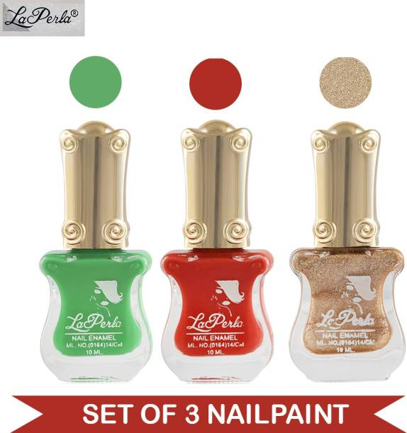 La Perla CH Piano Nail Paint Parrot Green Matte Shiny Red Matte Golden Sand Finish Multicolor