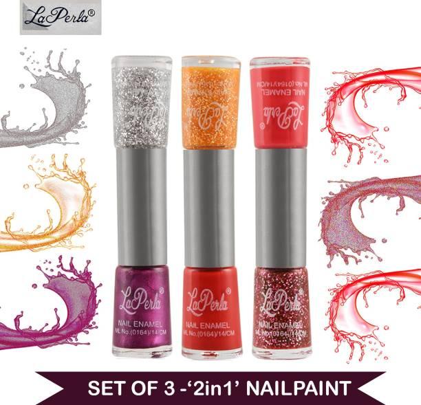La Perla Dual (2 in 1) Nail Paint Red Matte & Orange Glitter Red Matte & Red 3D Glitter Mauve Matte & Silver Glitter Multicolor