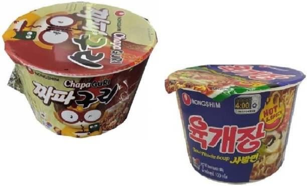 Nongshim Big Bowl Chapa Guri (Spicy)-114gm & Hot N Spicy 100gm- Instant Noodles (Pack of 2 ) (Imported) Cup Noodles Non-vegetarian