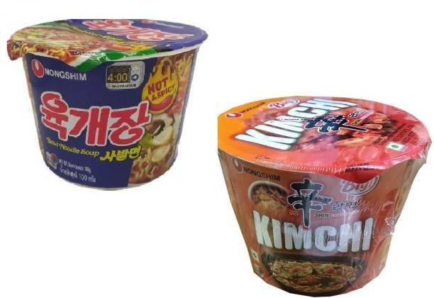 Nongshim Big Bowl Hot & Spicy-100gm & Kimchi 112gm-Instant Noodles Soup (Pack of 2 ) (Imported) Cup Noodles Non-vegetarian