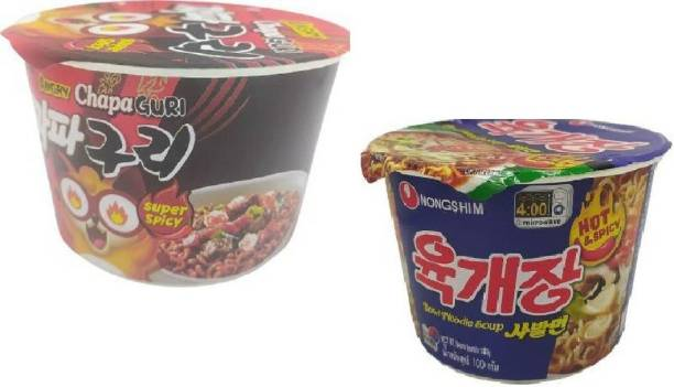 Nongshim Big Bowl Angry Chapa Guri (Super Spicy)-114gm & Hot N Spicy 100gm Instant Noodles Soup (Pack of 2 ) (Imported) Cup Noodles Non-vegetarian