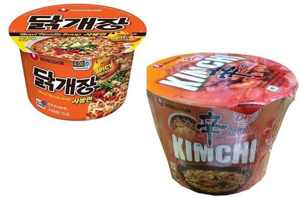 Nongshim Big Spicy Chicken 100gm & Kimchi (Gourmet Spicy)-112gm Instant Noodles Soup (Pack of 2 ) (Imported) Cup Noodles Non-vegetarian