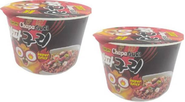 Nongshim Big Bowl Angry Chapa Guri (Super Spicy)-114gm- Instant Noodles (Pack of 2 ) (Imported) Cup Noodles Non-vegetarian