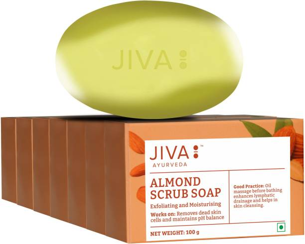 JIVA AYURVEDA Almond Scrub Soap - 100 g   Natural Exfoliator For Skin   Pack of 5 (100 g)