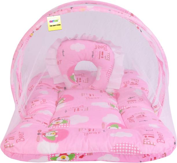 Kwitchy New Born Baby Mosquito Net Bed with Cushioned Pillow