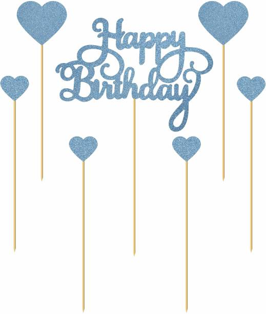 """svm craft SVM CRAFT Happy Birthday Cake Toppers Blue Glitter Letters""""Happy Birthday""""and Love Star, Party Decor Decorations, Set of 7 Cake Topper"""