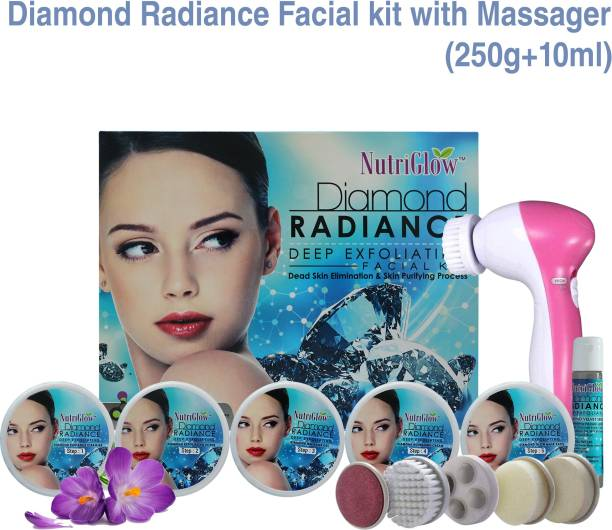 NutriGlow Skin Care Combo: Diamond Radiance Deep Expoliating Facial Kit (260 gm) + 5 in 1 Face Massager/ Skin Purifying / Electric Massager Machine