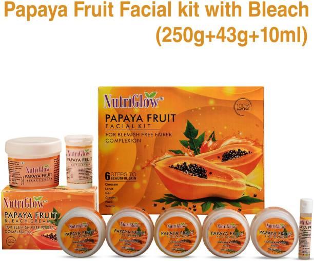 NutriGlow Papaya Fruit Combo Set : Facial Kit (250 gm) + Bleach Cream Kit (43 gm) / For Blemish Free Fairer Complexion / Lightens Skin/Moisturizes Skin