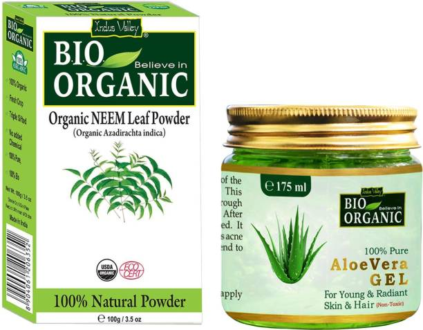 Indus Valley Natural Aloe Vera Gel and Neem Powder for Depigmentation- Set of 2