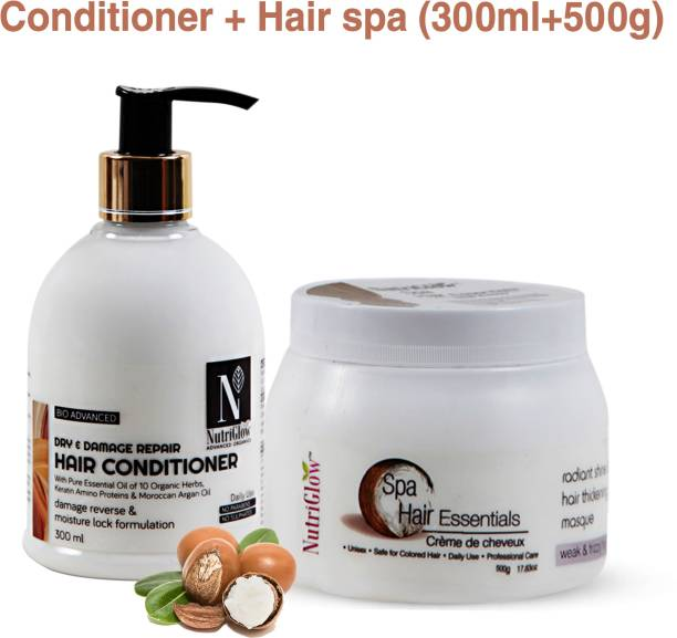NutriGlow Combo Pack Of 2 Hair Spa All Skin Type (500gm) And Hair Conditioner (300ml) For Dandruff|Silky Hair|all Hair Type