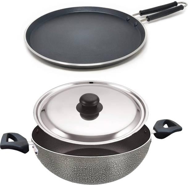 Rasoi Combo 2 Pcs Set of Crispy Hammer Tone Finish Dosa Tawa(27cm) And Kadhai (2 L) Cookware Set