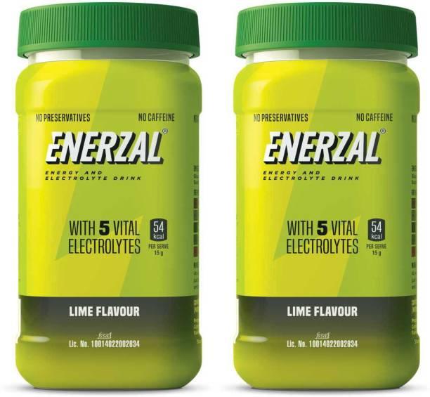 Enerzal Energy Drink Powder Lime Flavour (Pet Jar) 500g (Pack of 2) Energy Drink