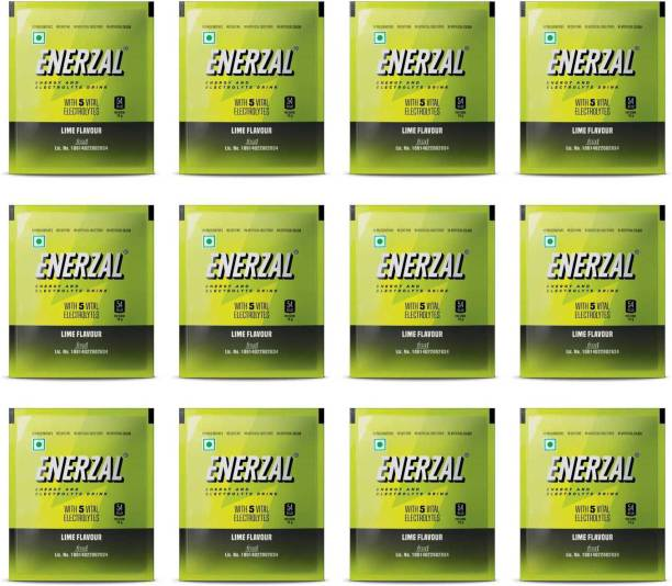 Enerzal Energy Drink Powder Lime Flavour 50 GM (Pack of 12) Energy Drink
