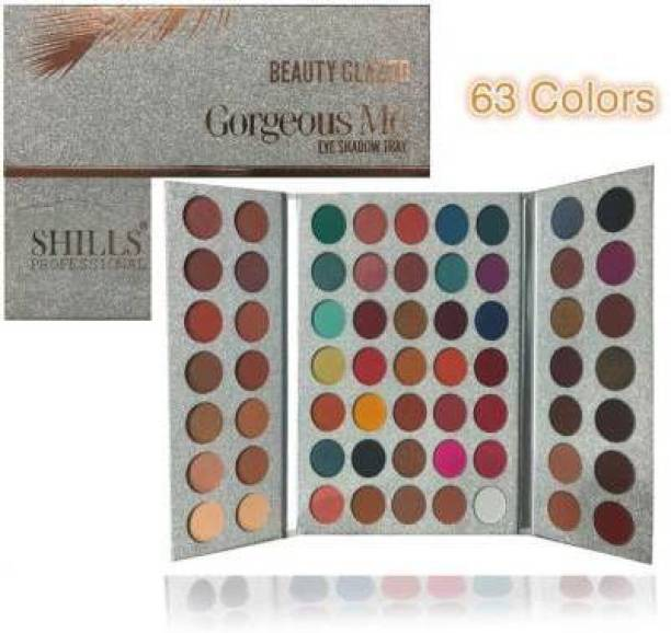 CAZO Beauty Glazed 63 Colors EyeShadow Palette Powder Profession Gorgeous Me Cosmetics Perfect Color Eye Shadow Tray 100 g (Multicolor) 50 g