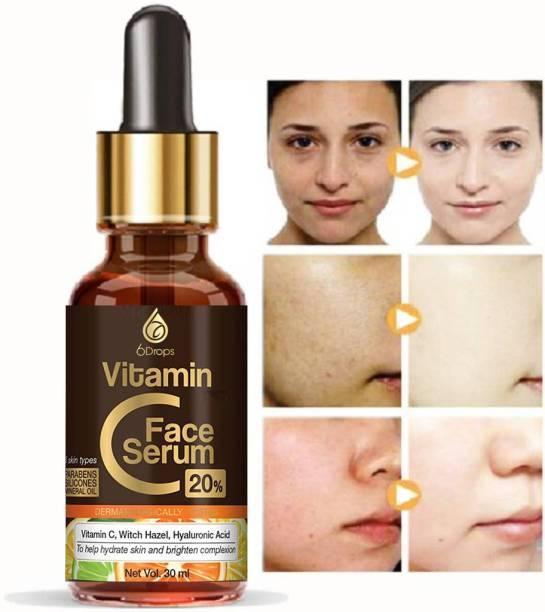 6Drops Advance And Effective Vitamin C With Vitamin E Serum In Skin Brightening Cream, Fairness Serum marron skin Brighter For a Brighter And Healthier Skin And Face. (30 ml)